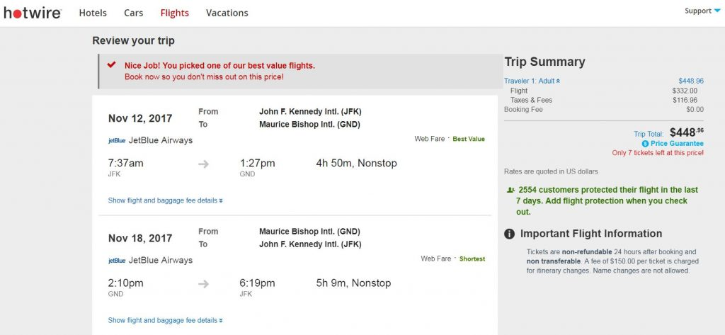 JetBlue Flight JFK-GND - $448
