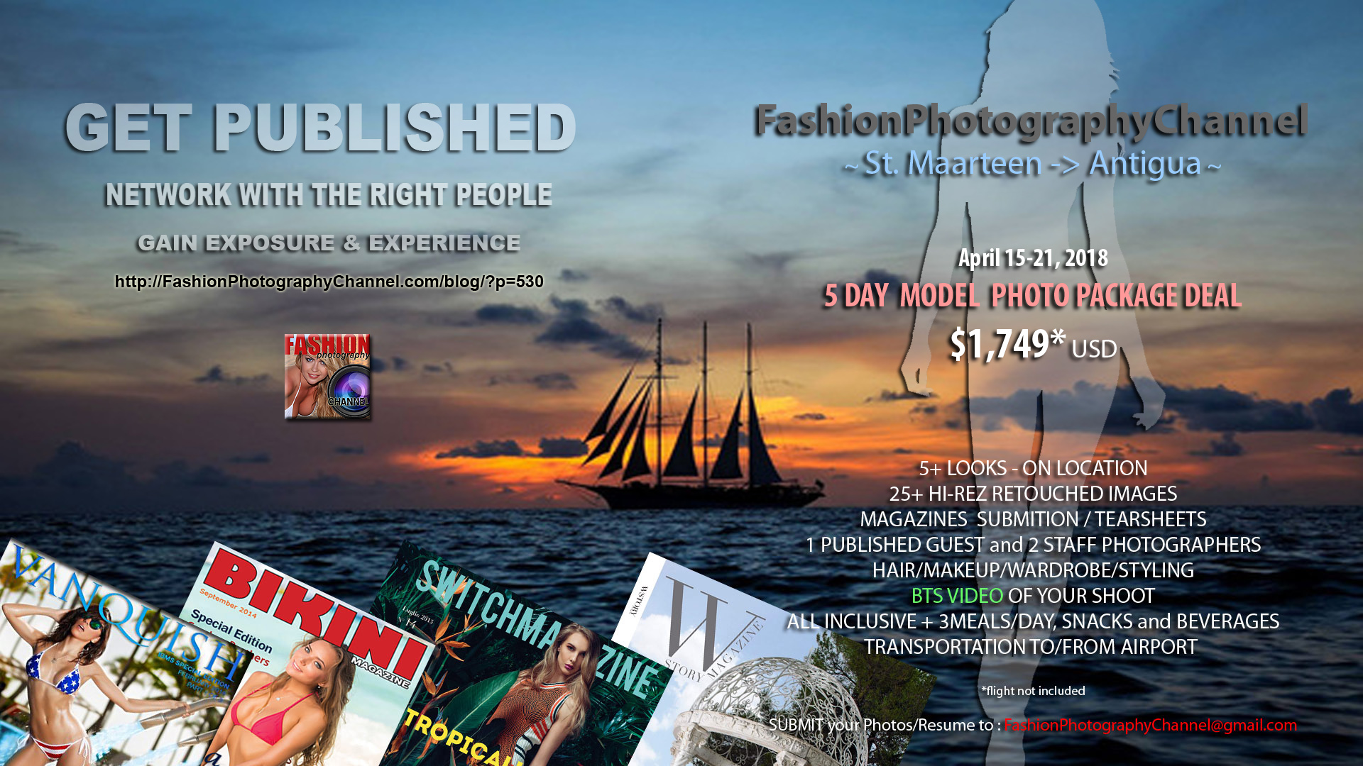 Additional info for Models & Photographers planning to attend cruise on SailWindjammer to St.Maarten - Antigua : April 15-21, 2018